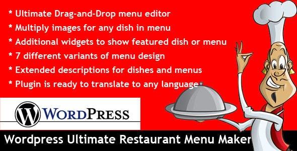 wordpress ultimate restaurant menu maker by evgendob codecanyon