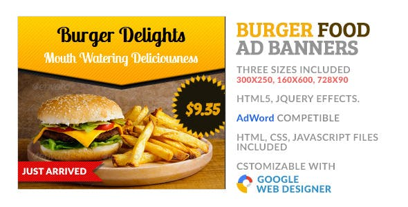 Burger Food GWD HTML5 Ad Banner by WonderArt | CodeCanyon