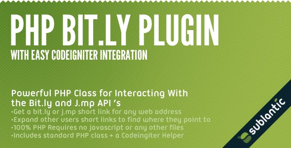 PHP Bit ly Plugin by sublantic | CodeCanyon