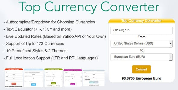 Top Currency Converter Codecanyon Item For
