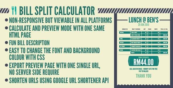 Bill Split Calculator by demonisblack | CodeCanyon