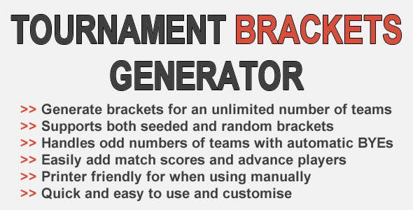 tournament brackets generator plugins code script