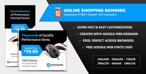 online shopping store banners html5 ad templates by infiniweb
