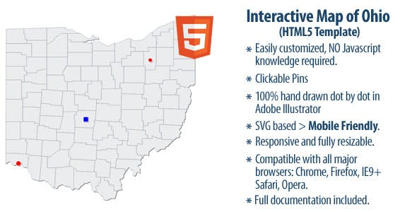 Major Cities In Ohio Map.Interactive Map Of Ohio By Clickmaps Codecanyon