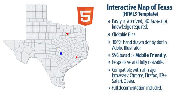 Full Map Of Texas.Interactive Map Of Texas By Clickmaps Codecanyon