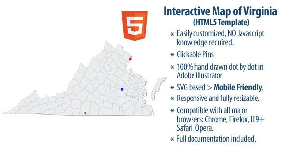 Interactive Map Of Virginia.Interactive Map Of Virginia By Clickmaps Codecanyon