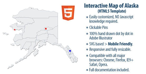 Interactive Map Of Alaska.Interactive Map Of Alaska By Clickmaps Codecanyon