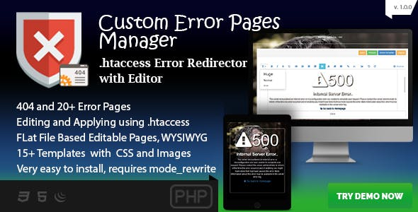 Custom Error Page Manager - 404 and 20+ Template Editor and