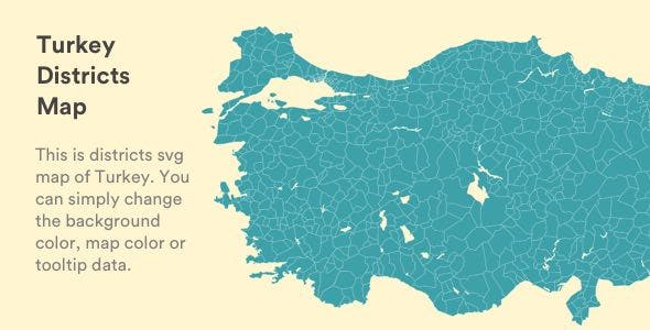Interactive Vectorel Turkey Districts Map [SVG, JS, HTML5] by bqra