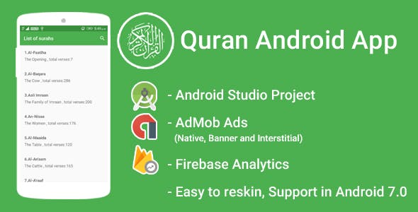 Quran App with Admob Interstitial + Banner + Native Ads + FIrebase