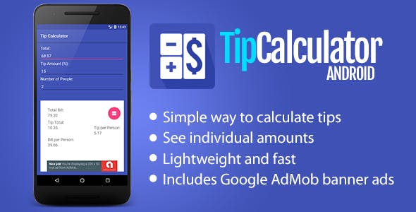 tip calculator for android by herocode codecanyon