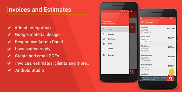 Make A Invoicing App With Mobile App Templates From CodeCanyon - Invoice template for android phone
