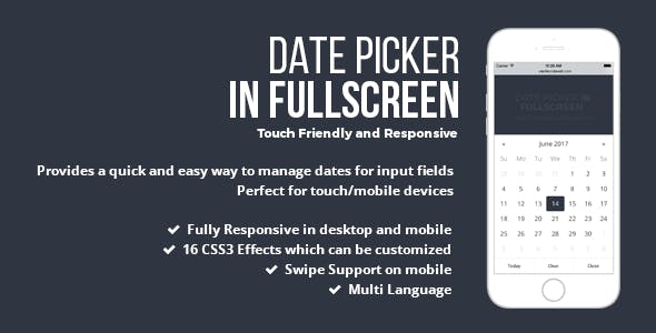 Date Picker In Fullscreen - jQuery Plugin by castlecode | CodeCanyon