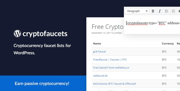 Cryptocurrency Faucet List for WordPress by EmberThemes | CodeCanyon
