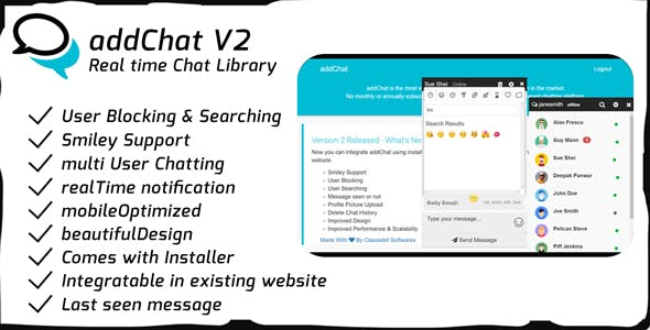 AddChat V2 - Realtime Chat Library free script download