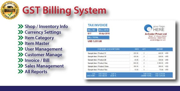 Easy GST Billing System With Full Source Code by a-coder | CodeCanyon