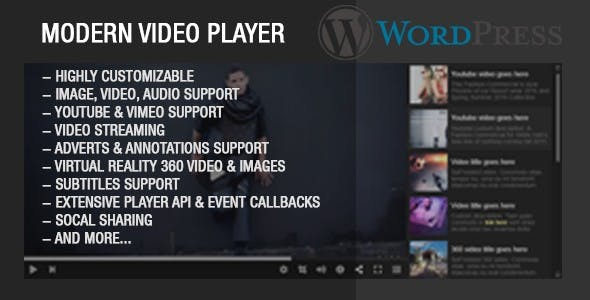 Modern Video Player For Wordpress by Tean | CodeCanyon