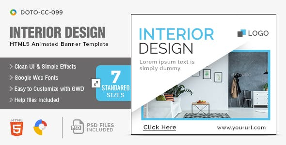Interior Design Html5 Banners 7 Sizes By Hyov Codecanyon