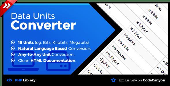 Data Units Converter Natural Language Conversion Library Codecanyon Item For