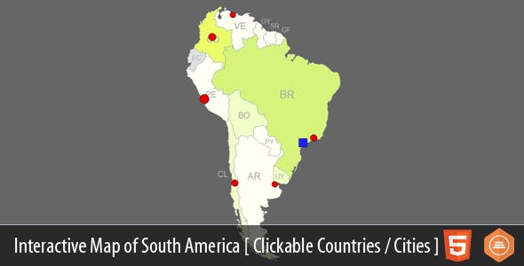 interactive map of south america by art101 codecanyon