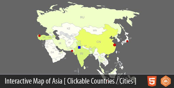 Interactive Map Of Asia By Art101 Codecanyon