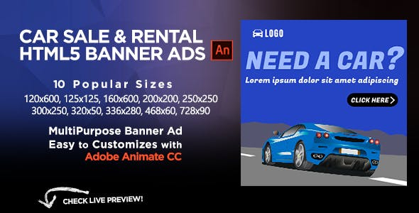 Discount html5 ad templates from codecanyon car sales rental html5 banners ads animate cc maxwellsz