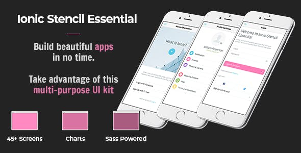 Ionic Stencil Essential - UI Kit for Ionic 3 and Ionic 4 Mobile apps