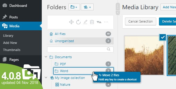 WordPress Real Media Library - Media Categories / Folders File