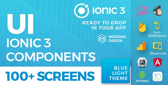 Ionic 3 UI Theme/Template App - Material Design - Blue Light