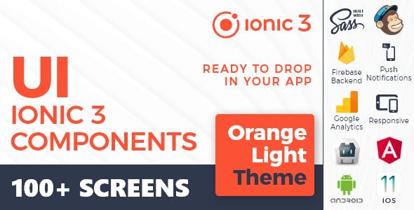 Ionic 3 / Angular 6 UI Theme /  Template App - Multipurpose Starter App - Orange Light