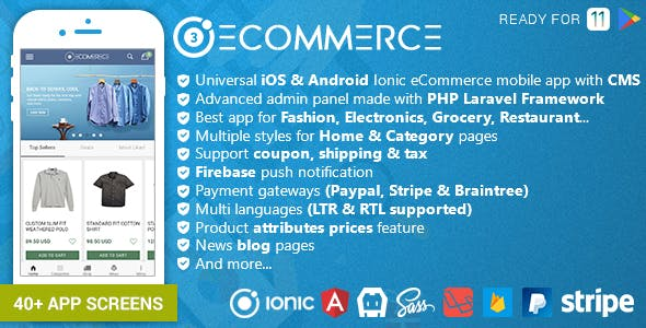 Ionic Ecommerce - Universal iOS & Android Ecommerce / Store Full Mobile App with Laravel CMS