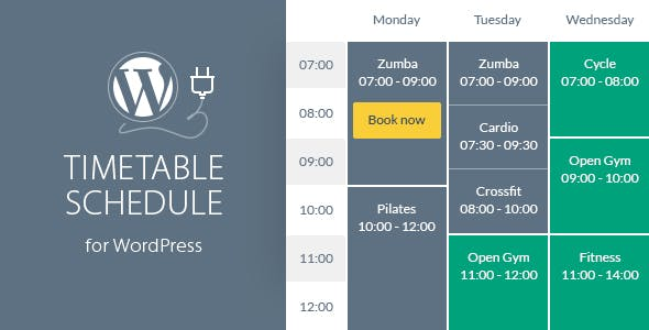 Timetable Responsive Schedule For WordPress by QuanticaLabs | CodeCanyon
