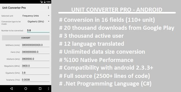 Unit Converter Pro Xamarin Android Codecanyon Item For