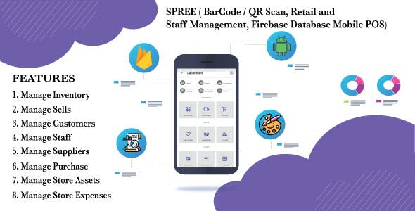 SPREE ( BarCode / QR Scan, Retail and Staff Management, Firebase