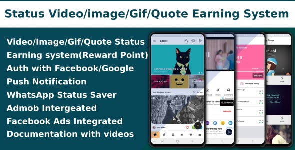 Video/Image/Gif/Quote App With Earning sytem (Reward points)