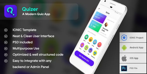 Quiz Android App + iOS App Template (HTML+CSS files IONIC 3) | | Quizer