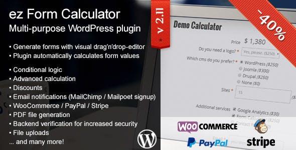 Ez Form Calculator WordPress Plugin Codecanyon Item For