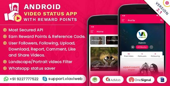 Android Video Status App With Reward Points (WA Status Saver)