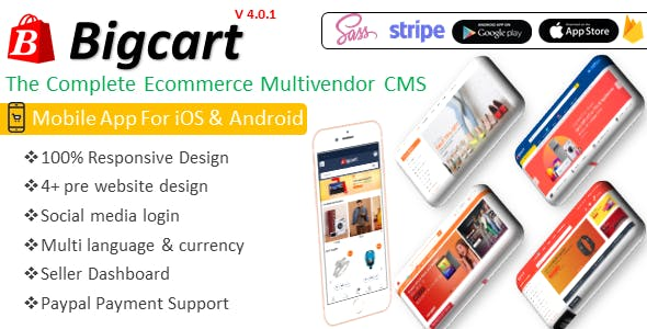 Bigcart  - Ecommerce Multivendor System with Free iOS & Android Apps