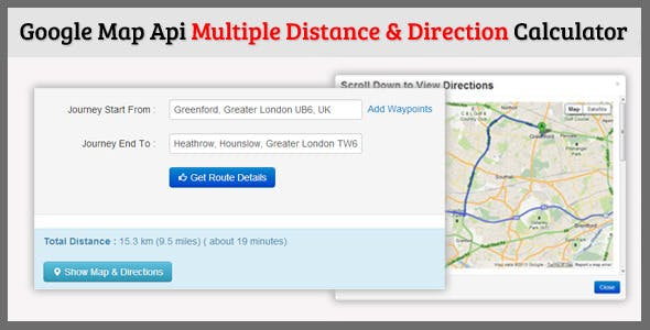 Distance Calculator Plugins Code Scripts From CodeCanyon - Route map and distance calculator